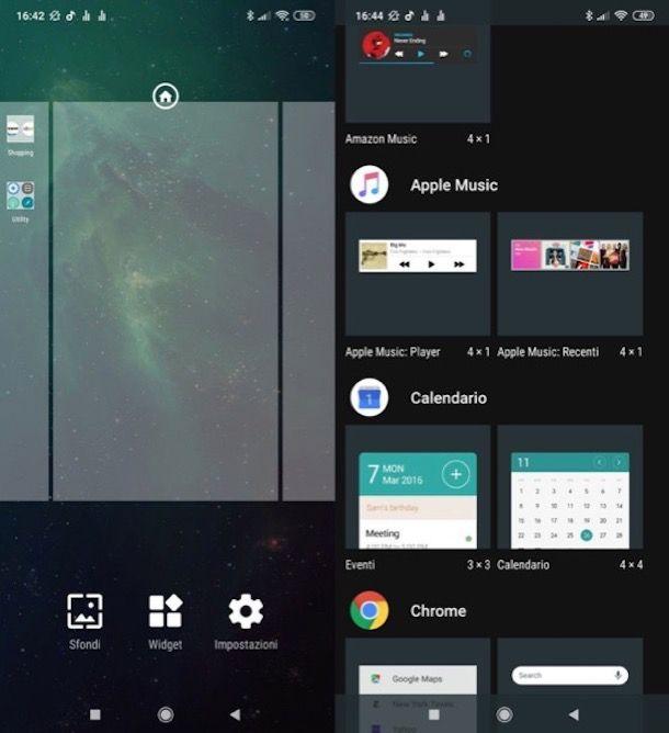 Inserire widget Android nella schermata Home