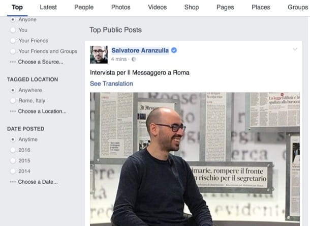 Come cercare post su Facebook