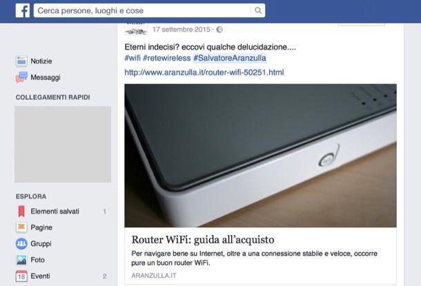 Come cercare post su Facebook