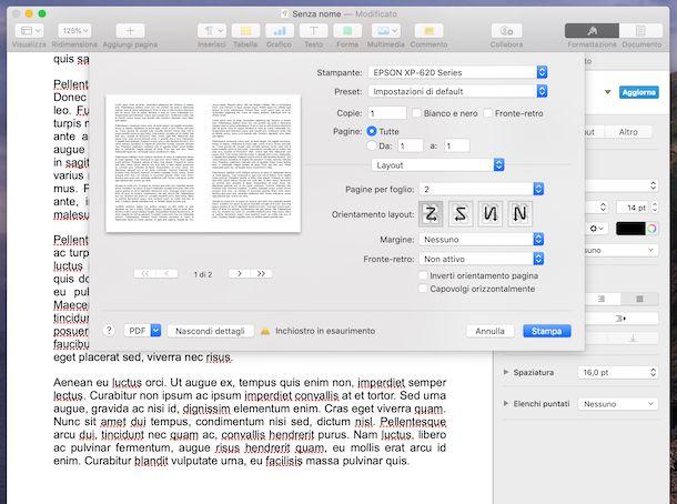 Stampare due pagine per foglio su Mac
