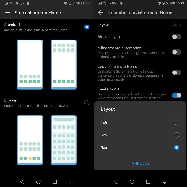 Cambiare visualizzazione delle icone su Android