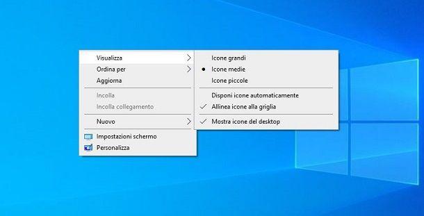 Cambiare visualizzazione icone su desktop Windows 10