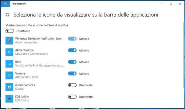 Rimuovere icone barra delle applicazioni Windows 10