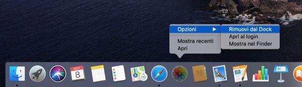 Rimuovere icone dal Dock su Mac