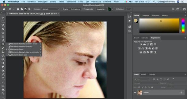 Rimuovere brufoli con Photoshop