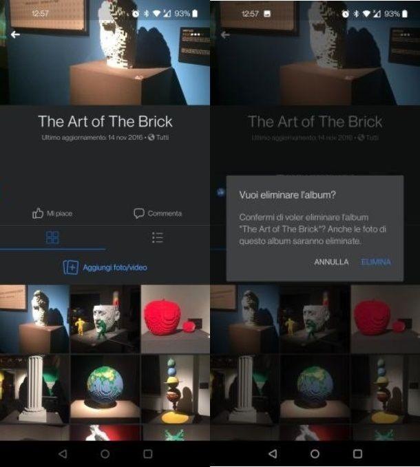 Come eliminare un album da Facebook con Android