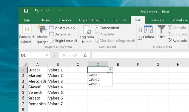 Come fare menu a tendina con Excel