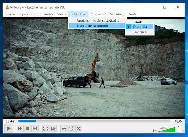 VLC rimozione sottotitoli