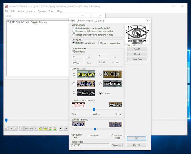 VirtualDubMode filtro rimozione sottotitoli