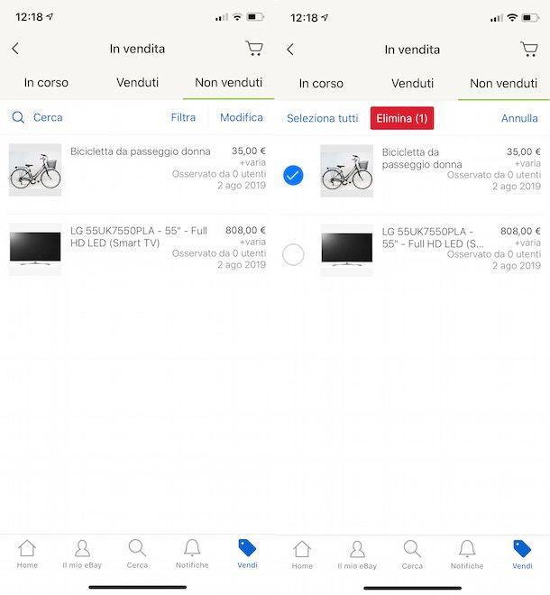 Eliminare annuncio eBay da smartphone e tablet