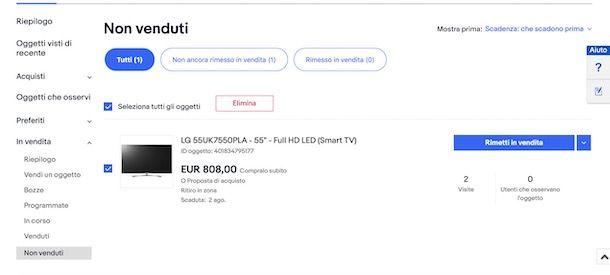 Eliminare annuncio eBay