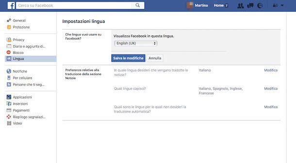 Come cambiare lingua su Facebook