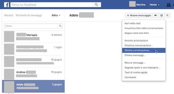 Come eliminare i messaggi archiviati su Facebook