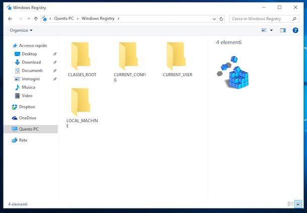 Come aprire registro di sistema