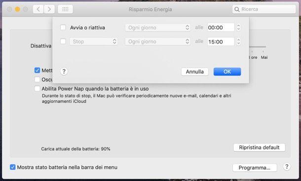Disattivare stop Mac