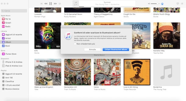 Aggiungere copertina album su Mac