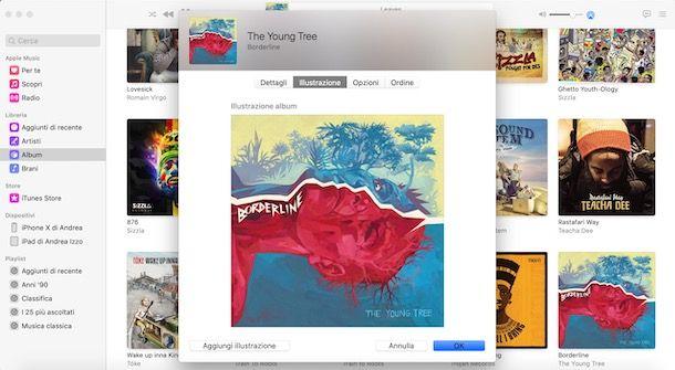Aggiungere manualmente copertina album su Mac