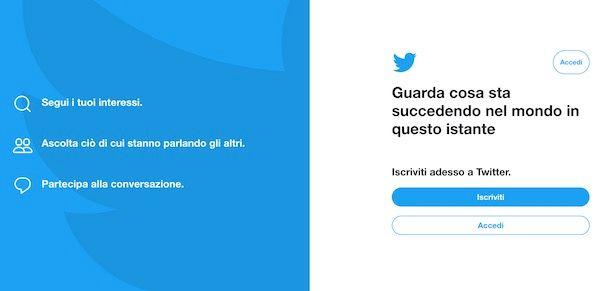 Twitter registrazione