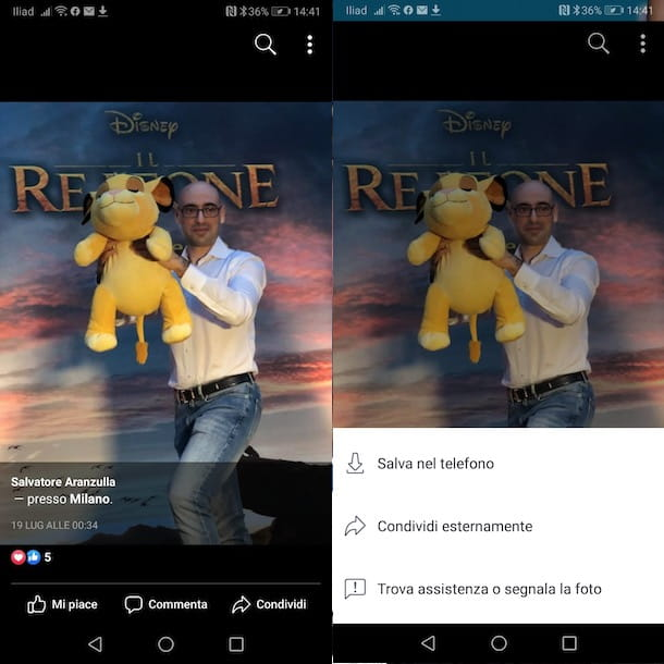 Salvare le foto da Facebook con Android
