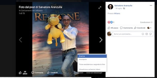 Come salvare foto da Facebook su PC