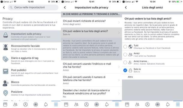 Nascondere amici su Facebook da mobile