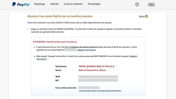 Ricaricare PayPal