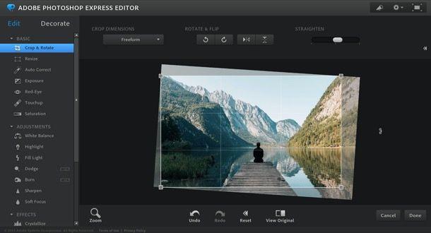 Raddrizzare foto con Photoshop online