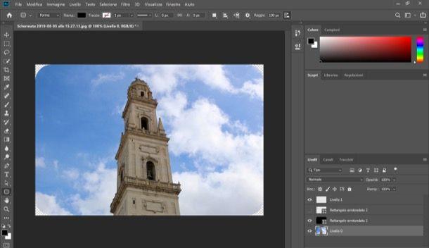 Arrotondare angoli con Photoshop su computer