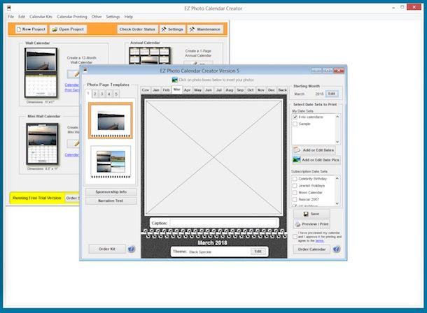 software creare foto calendario cartolina
