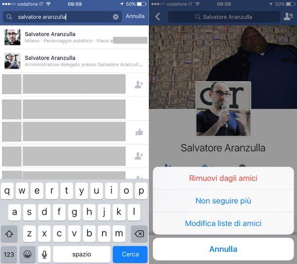 Come rimuovere amici da Facebook