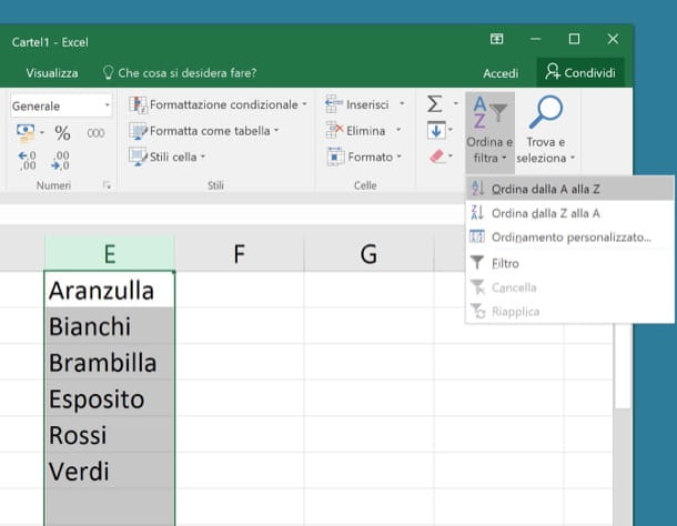 Come ordinare in ordine alfabetico su Excel