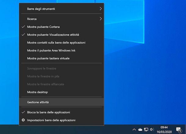 Task Manager barra delle applicazioni