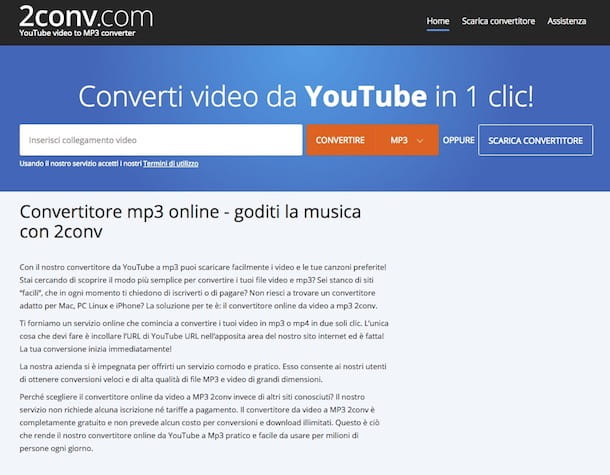 video da youtube e convertirli in mp3 online