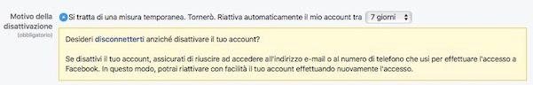 Come sospendere account Facebook