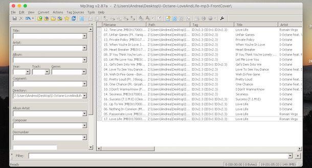 Programma per ordinare file musicali