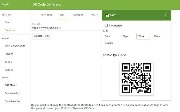 Come generare codice QR