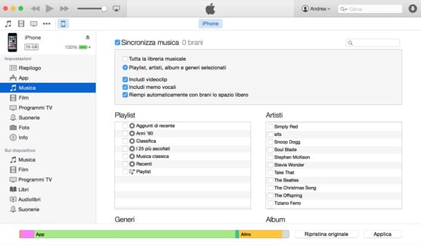 musica su pc e trasferirla su iphone