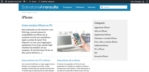 Sezione iPhone di Aranzulla.it