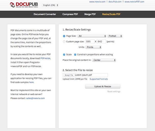 Come ridimensionare un PDF