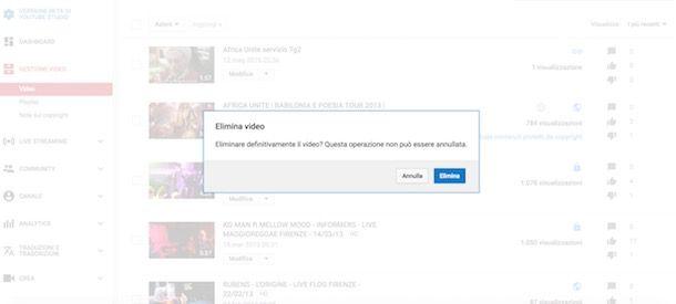 Eliminare video da YouTube