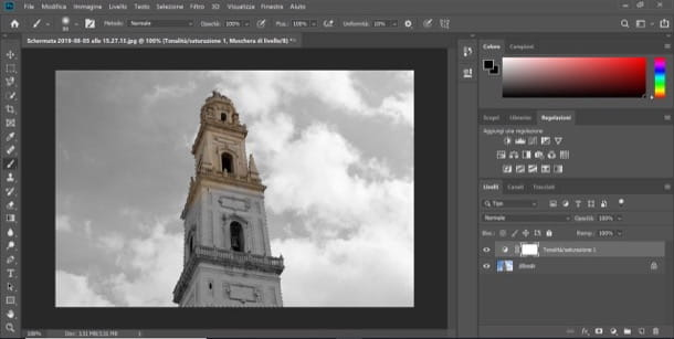 Evidenziare un colore su Photoshop su computer