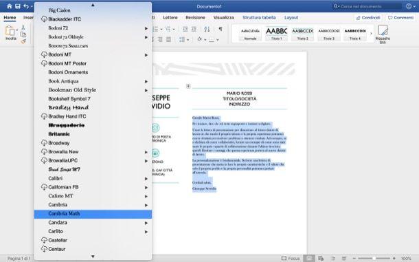 Personalizzare lettera Word