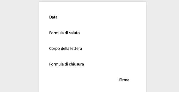 Esempio di lettera informale