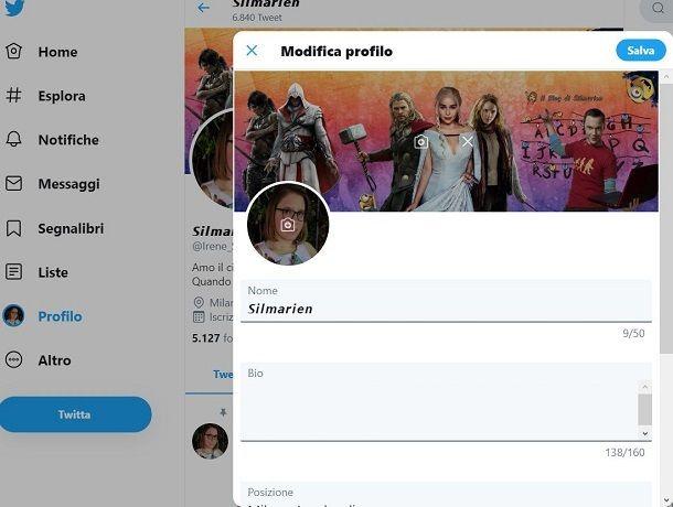 Twitter profilo