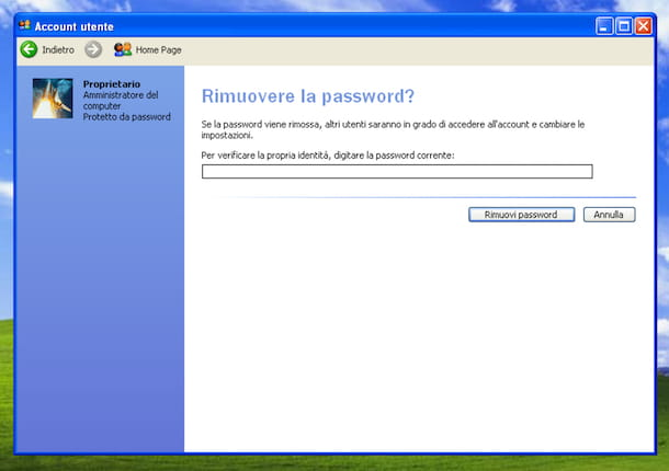 Screenshot che mostra come rimuovere la password dall'account utente su Windows XP