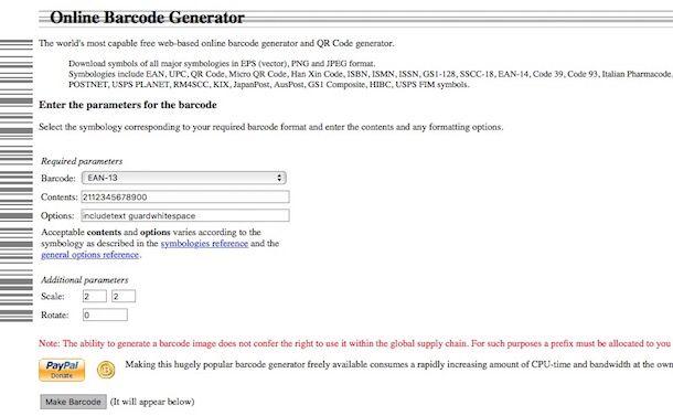 Come generare un codice a barre
