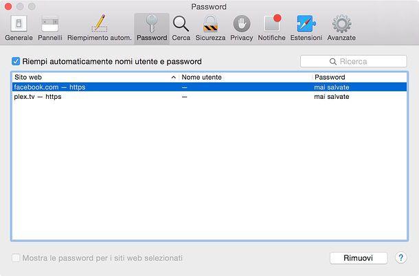 trovare password facebook con mac