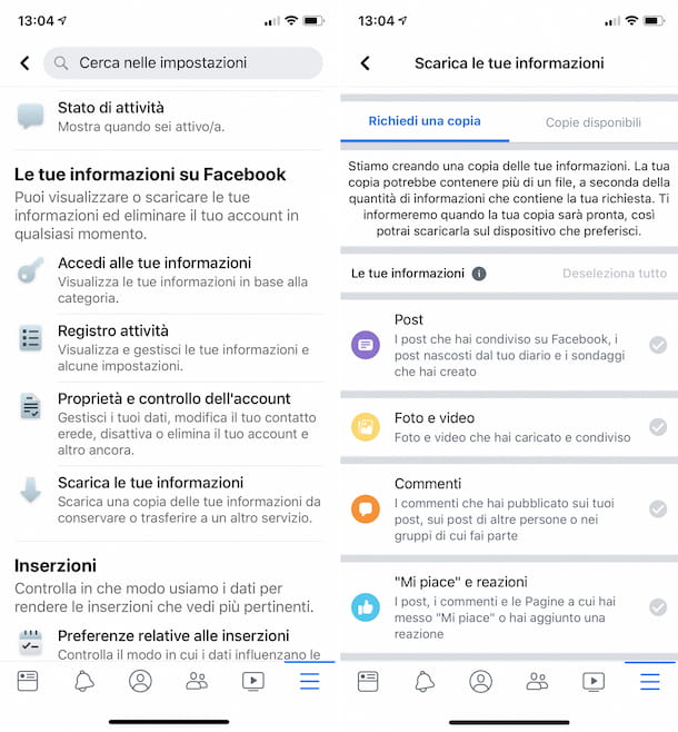 Download informazioni Facebook app