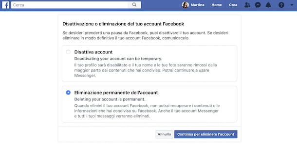 Eliminazione account Facebook Web