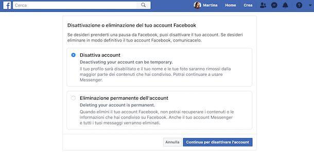 Disattivazione account Facebook Web